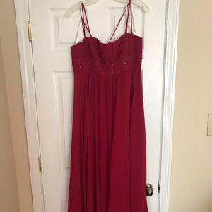 Long Red David's bridal bridesmaid gown